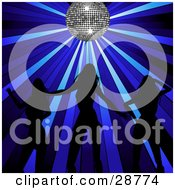 Clipart Illustration Of Three Sexy Women Silhouetted In Black Dancing Under A Sparkling Silver Disco Ball With Blue Spotlights