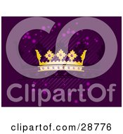 Clipart Illustration Of A Golden Crown With Purple Jewels Over A Purple Background With Diagonal Lines Purple Orbs And A Silhouetted Crown