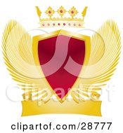 Clipart Illustration Of A Gold Crown With Rubies Above A Heraldic Red Shield With Golden Wings And A Blank Scroll
