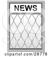 Clipart Illustration Of A Chrome Newspaper Stand With A Wire Guard On White by elaineitalia