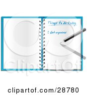 Clipart Illustration Of A Pen Writing An Organized To Do List In An Open Spiral Notebook