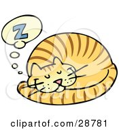 Clipart Illustration Of A Striped Orange Cat Curled Up And Taking A Pleasant Nap