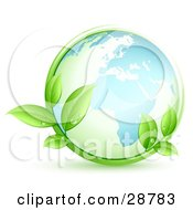 Clipart Illustration Of The Blue Earth Embraced By Green Leafy Vines With Dew Drops