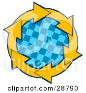 Clipart Illustration Of A Circle Of Yellow Arrows Around A Blue Checkered Center