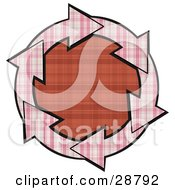 Clipart Illustration Of A Circle Of Pink Plaid Arrows Around A Red Plaid Center