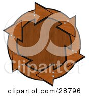 Clipart Illustration Of A Circle Of Brown Wood Arrows With Bolts Around A Wood Grain Center by djart