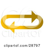 Clipart Illustration Of An Oval Of Gradient Light And Dark Yellow Arrows Moving In A Clockwise Motion