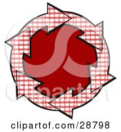 Clipart Illustration Of A Circle Of Red And White Plaid Arrows Around A Solid Red Center