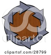 Clipart Illustration Of A Circle Of Blue Denim Arrows Around A Wood Grain Center