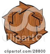 Clipart Illustration Of A Circle Of Wooden Arrows Around A Wood Center by djart