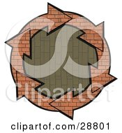 Clipart Illustration Of A Circle Of Brick Arrows Around A Vertical Patterned Brick Center by Dennis Cox