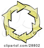 Clipart Illustration Of A Circle Of Yellow Lined Notebook Paper Arrows Around A White Center by Dennis Cox