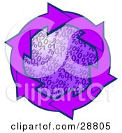 Clipart Illustration Of A Circle Of Purple Arrows Around A Binary Coding Center