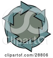 Clipart Illustration Of A Circle Of Metal Teal Arrows With Bolts Around A Textured Green Center by djart