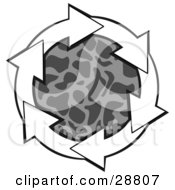 Clipart Illustration Of A Circle Of White Arrows Around A Patterned Gray Center by Dennis Cox