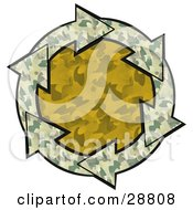 Clipart Illustration Of A Circle Of Green Camouflage Arrows Around An Orange Camo Center