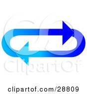 Clipart Illustration Of An Oval Of Gradient Dark And Light Blue Arrows Moving In A Clockwise Motion by Dennis Cox