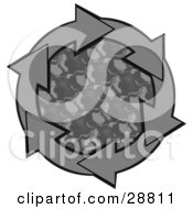 Clipart Illustration Of A Circle Of Gray Arrows Around A Patterned Center by djart