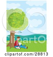 Clipart Illustration Of A Teenage Boy Reading A Book Under Bluebirds In A Tree His Dalmatian Puppy Curled Up And Sleeping Next To Him by Maria Bell