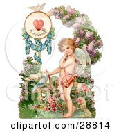 Vintage Valentine Of Cupid Resting His Bow On The Ground In A Flower Garden Circa 1890