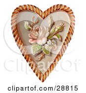 Clipart Picture Of A Vintage Valentine Of A Rose And Blossoms On A Heart Circa 1890 by OldPixels