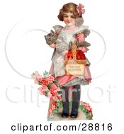 Vintage Valentine Of A Sweet Little Girl Carrying A Basket Of Red Hearts And A Cat In Her Arms Walking In A Flower Garden Circa 1885