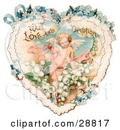 Clipart Picture Of A Vintage Valentine Of Cupid With Ribbons Prancing In White Lily Of The Valley Flowers On A Lacy Heart With Forget Me Not Flowers Circa 1890 by OldPixels #COLLC28817-0072