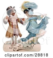 Clipart Picture Of A Vintage Valentine Of A Romantic Black Couple In Beautiful Clothing Ballroom Dancing Circa 1890