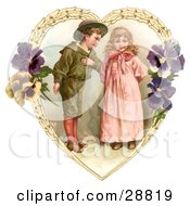 Clipart Picture Of A Vintage Valentine Of A Sweet Little Boy Trying To Woo A Little Girl In A Heart Of Leaves And Pansy Flowers Circa 1890 by OldPixels #COLLC28819-0072