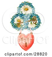 Clipart Picture Of A Vintage Valentine Of A Heart Locket Suspended From Rings Of Blue Flowers Around White Daisies With A Gold Skeleton Key Circa 1890 by OldPixels