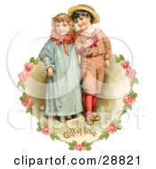 Clipart Picture Of A Vintage Valentine Of A Sweet Little Boy And Girl Strolling Arm In Arm Looking Off To The Side Circled By A Heart Of Pink Roses Circa 1886 by OldPixels