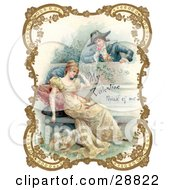Clipart Picture Of A Vintage Valentine Of A Man Holding A Flower And Looking Over A Patio Wall Admiring A Young Lady Bordered By Golden Flowers Circa 18th Century