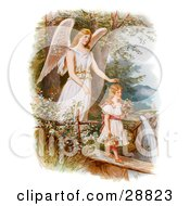 Clipart Picture Of A Vintage Valentine Of A Female Guardian Angel Looking Over A Little Girl As She Carries Flowers And A Basket Across A Log Over A Cliff And River Circa 1890 by OldPixels