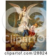 Clipart Picture Of A Vintage Valentine Of A Female Guardian Angel Watching Over A Little Boy And Girl As They Pick Flowers And Chase Butterflies At The Edge Of A Cliff Circa 1890 by OldPixels