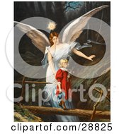 Clipart Picture Of A Vintage Valentine Of A Female Guardian Angel Guiding A Little Girl In A Red Dress Across A Dangerous Log Bridge Over A Gorge Circa 1890 by OldPixels #COLLC28825-0072