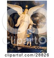 Clipart Picture Of A Vintage Valentine Of A Female Guardian Angel Protecting A Little Girl As She Crosses A Gorge On A Narrow Bridge Carrying A Basket And Flowers Circa 1890