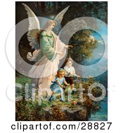 Clipart Picture Of A Vintage Valentine Of A Female Guardian Angel Watching Over Two Little Children As They Play With A Ball And Hoop At The Edge Of A Cliff Circa 1890
