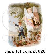 Clipart Picture Of A Vintage Valentine Of A Female Guardian Angel Watching Over A Little Boy As He Picks Flowers And Chases Butterflies At The Edge Of A Cliff Circa 1890 by OldPixels