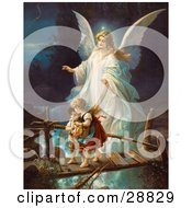Clipart Picture Of A Vintage Valentine Of A Female Guardian Angel Protecting A Little Girl And Her Brother As They Cross Over A River On A Narrow Broken Bridge Circa 1890 by OldPixels #COLLC28829-0072