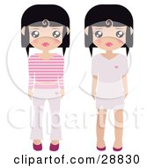 Clipart Illustration Of Two Black Haired Female Paper Dolls Pink And White Shoes Dresses Pants And Shirts