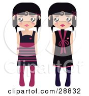 Two Black Haired Female Paper Dolls In Black And Pink Dresses And Tights