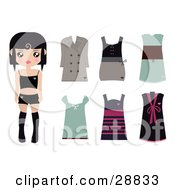 Clipart Illustration Of A Black Haired Female Paper Doll Wearing Black Undergarments With A Brown Coat And Dress And Green Pink And Black Dresses