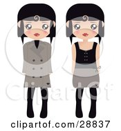 Two Black Haired Female Paper Dolls In Brown And Black Tights Coats And Dresses