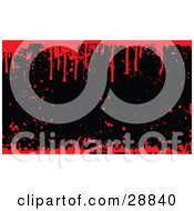 Clipart Illustration Of A Black Background With Grunge Splatters Bordered By Dripping Red Blood