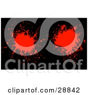 Clipart Illustration Of Two Red Blood Splatters On A Black Background