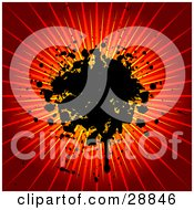 Clipart Illustration Of A Black Ink Splatter Dripping On A Bursting Yellow Orange And Red Background by KJ Pargeter
