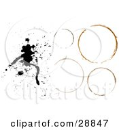 Clipart Illustration Of A Black Ink Stain With Four Circular Stains On A White Background by KJ Pargeter