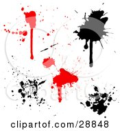 Clipart Illustration Of A Set Of Red And Black Blood And Ink Splatters On A White Background