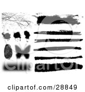 Clipart Illustration Of An Elements Set Of Scratches Splatters A Pixelated Butterfly And Lines In Black And White