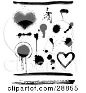Elements Set Of Hearts Circles Lines And Ink Splatters In Black And White